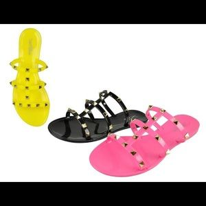 Spike Studded Cross Strap Sandals